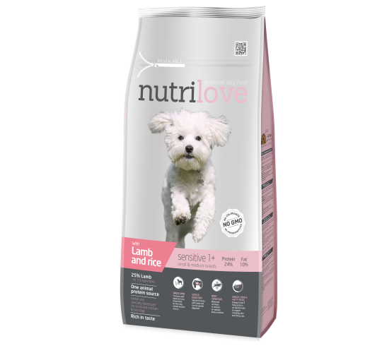 Nutrilove sensitive lamb&rice small/medium 8 kg