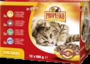 Корм в пакетиках для кошек Propesko (12 х 100 г): 3 шт. с курицей, 3 шт. с лососем, 3 шт. с кроликом, 3 шт. с говядиной