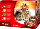 Корм в пакетиках для кошек Propesko (12 х 100 г): 3 шт. с курицей, 3 шт. с бараниной, 3 шт. с олениной, 3 шт. с говядиной